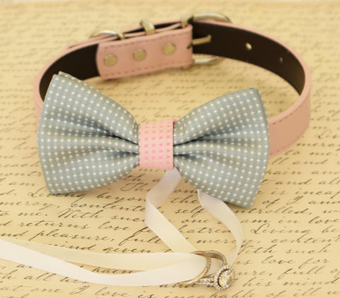 Gray and Pink Dog Bow Tie ring bearer, Pet Wedding, Gray wedding, Pink lovers