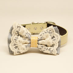 Gray, Pale Yellow Lace dog bow tie collar, Lace, Polka dots, Leather collar, Puppy Gift
