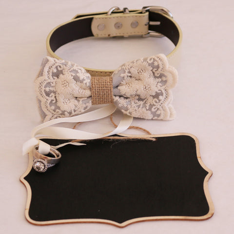 Gray lace bow tie collar and Small Chalkboards Signs, Proposal, Bridal Sign, Dog Ring Bearer, Marry me, XS to XXL collar
