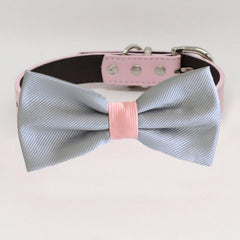Gray bow tie collar, handmade Puppy bow tie, XS to XXL collar and bow adjustable dog of honor ring bearer, Gray blush bow tie