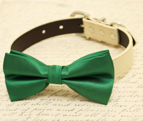 Green Dog Bow Tie attached to collar, Green wedding, dog birthday