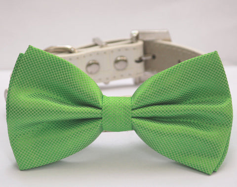 Green Dog Bow Tie with collar, Spring wedding dog accessory, emerald green