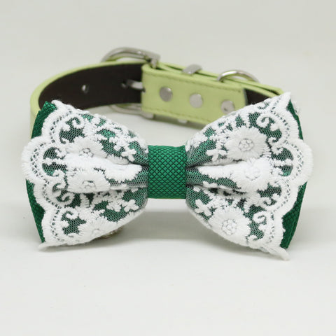 Emerald green Bow tie collar, Lace bow tie collar