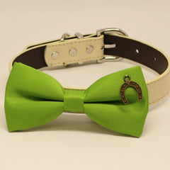 Green Dog Bow tie collar, Dogs birthday gift, Pet wedding, Charm (Horseshoe Good Luck) , Wedding dog collar