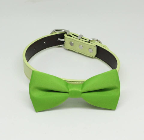 Green dog bow tie attached to collar, Green wedding, dog lovers, Summer wedding