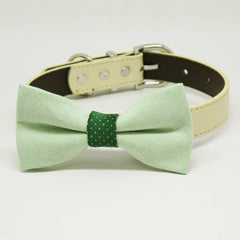 Green with Dark center and dots dog bow tie collar, Pet Wedding, birthday gift, Color of the year