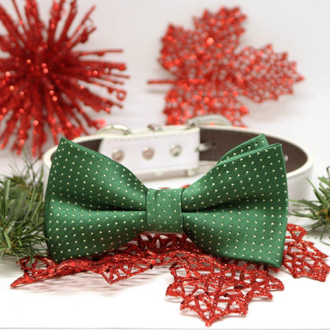 Dark Green Bow Tie Dog Collar, Pet Wedding, birthday gift, Occasions, Christmas accessory