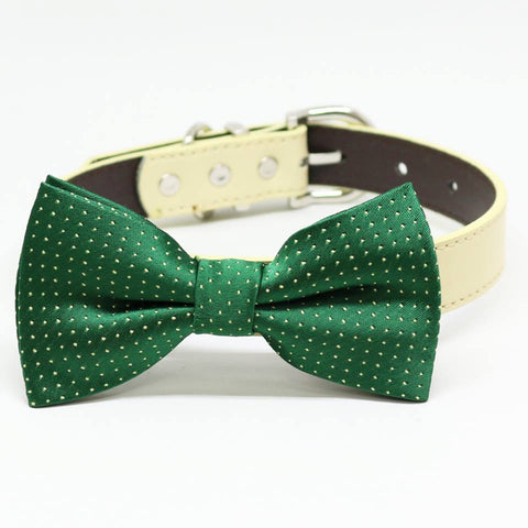 Dark Green Bow Tie Dog Collar, Pet Wedding, birthday gift, Occasions, Holiday
