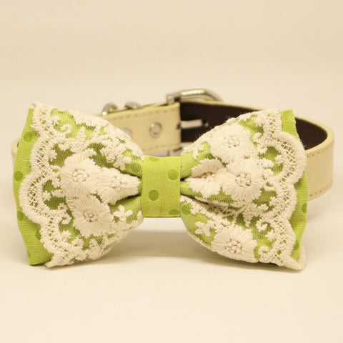 Green Lace dog bow tie collar, Ivory, Pet wedding accessory