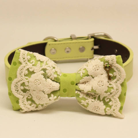Green Polka Dots Lace dog bow tie collar, Ivory, Key Charm, Pet wedding accessory