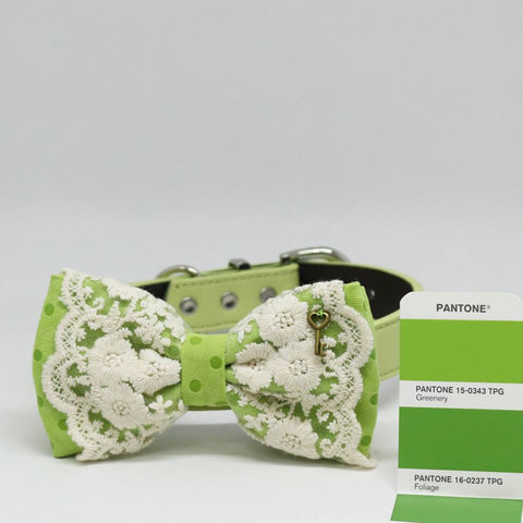 Greenery Lace dog bow tie collar, Color of the Year PANTONE 15-0343, Key Charm, Pet wedding , Wedding dog collar