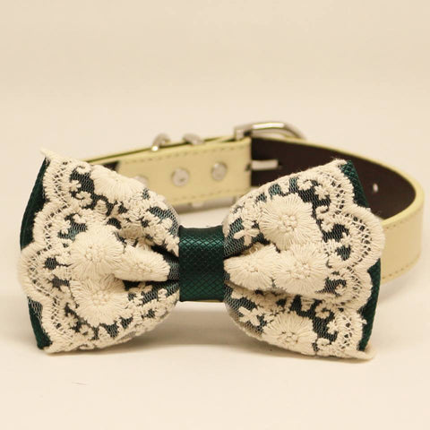 Dark Green Bow Tie with Lace Dog Collar, Pet Wedding accessory, gift, Victorian, Birthday