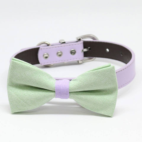 Green and Lavender dog bow tie collar, Country Rustic, Pet Wedding, birthday gift, Color of the year