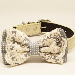Gray Lace dog bow tie collar, charm(Heart), Puppy Gift, Pet wedding accessory, Country Rustic , Wedding dog collar