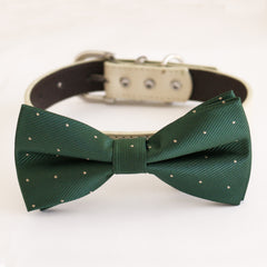 Green bow tie collar dog of honor dog ring bearer XS to XXL collar and bow tie, Puppy bow tie leather adjustable dog collar
