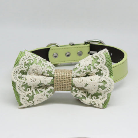 Green Lace Dog Bow Tie collar, Greenery, Burlap, Pet wedding, Spring, handmade