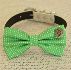 Green Dog Bow tie, Bow attached to dog collar,Live your dream, Dog birthday gift, Pet wedding accessory, Green wedding, Yellow, Polka dots - LA Dog Store  - 1