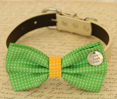 Green Dog Bow Tie, Bow attached to dog collar, Pet wedding accessory, dog birthday gift, Green and Yellow, Live, Love, Laugh, Polka dots - LA Dog Store  - 1