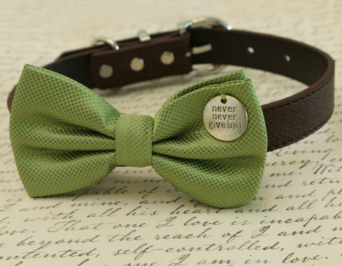 Green Dog Bow Tie, charm, dog birthday gift, dog lovers, leather collar