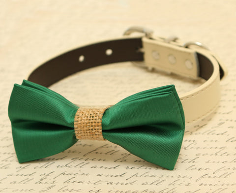 Green Wedding Dog Bow Tie attached to collar, dog lovers, Burlap bow tie