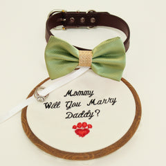 Green burlap bow tie dog collar, Bow and handmade Embroidery sign attached to leather dog collar, will you marry me, Marry me sign, handmade