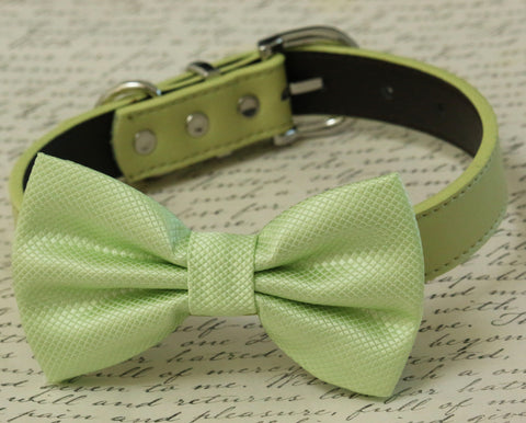 Green Dog Bow tie collar, Spring wedding, Greenery, Color of year , Wedding dog collar