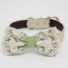 Green Bow tie collar, Green lace Bow tie attach to Ivory, brown, Copper, Champagne, gray, green or white leather collar, handmade