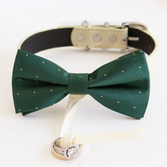 Green bow tie collar Leather collar dog of honor ring bearer bow tie adjustable handmade XS to XXL collar and bow, Proposal