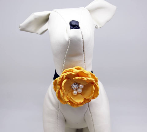 Honey Yellow Floral Dog and Cat Choker, Floral Wedding Rhinestone Pearls Chokers