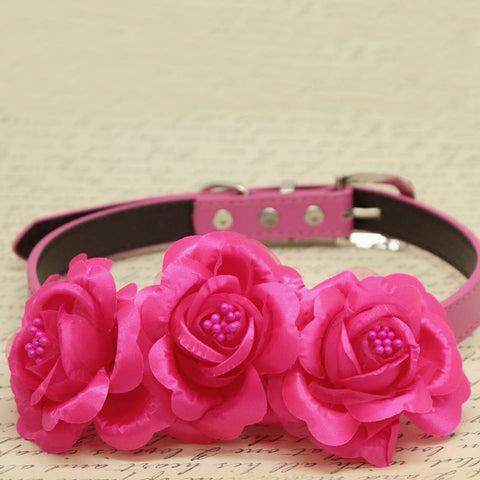 Hot Pink Floral Dog Collar, Wedding Pet Accessory, Rose Flowers with Pearls