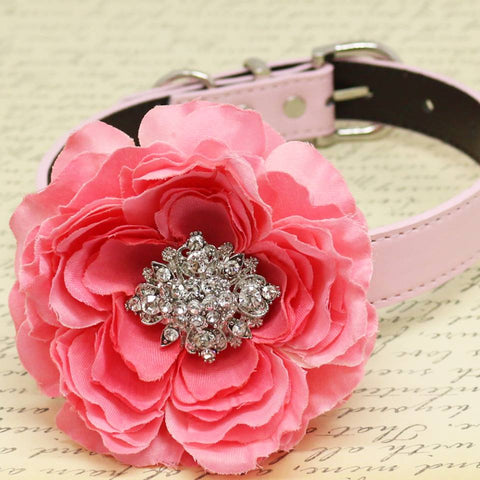 Hot Pink wedding dog collar, Pet accessory, Floral Birthday gift, Choker, Rhinestone
