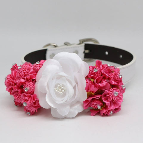 Hot Pink White Floral Dog Collar, Pet Wedding, Rhinestone Pearl, Choker , Wedding dog collar