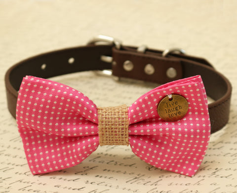 Hot Pink Dog Bow Tie attached to collar, pink wedding , Wedding dog collar