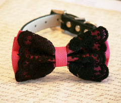 Hot Pink dog Bow Tie, Hot Pink Bow with Black Lace, Pet accessory, Dog Lovers, Dog Birthday Gift, Sexy - LA Dog Store  - 2