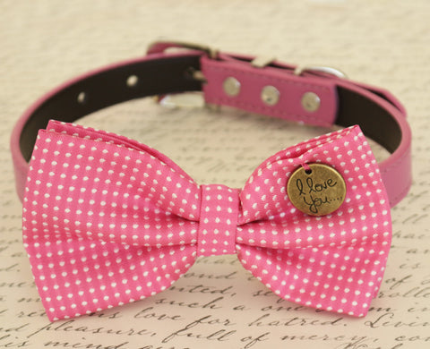 Hot Pink Dog Bow tie attached to collar, birthday gift, dog wedding accessory