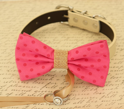 Hot Pink Dog Bow Tie ring bearer attached to collar, Burlap, Pet Wedding