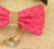 Hot Pink Dog Bow Tie, Dog ring bearer,Bow attached to dog collar, Burlap, Pet Wedding accessory, Pink Lovers, Polka dots, Proposal, collar - LA Dog Store  - 2