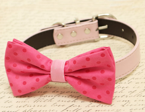 Hot pink Bow tie attached to dog collar, Pet wedding, Polka dots bow tie