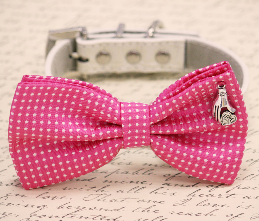 Hot Pink Dog Bow Tie Birthday Gift Lovers Polka Dots