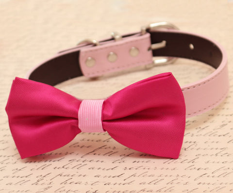 Hot pink dog Bow tie attached to collar, Pet wedding, Polka dots bow tie