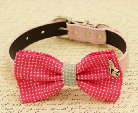 Hot pink dog bow tie attached to collar, Pet accessory, Charm, dog birthday