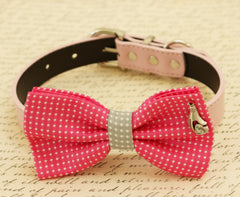 Hot pink dog bow tie, Bow tie attached to dog collar, Pet accessory, Charm, Love, dog collar, dog birthday gift, Pink lovers, polka dots - LA Dog Store  - 1