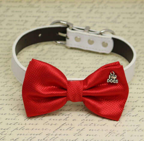 Red Dog Bow tie collar, I Love Dogs, birthday gift, pet wedding accessory, dog lovers