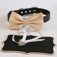 Dog Collar Ivory Bow Tie and Small Chalk Board, Bridal Sign, Here Comes the Bride Sign, Ring Bearer, Proposal sign