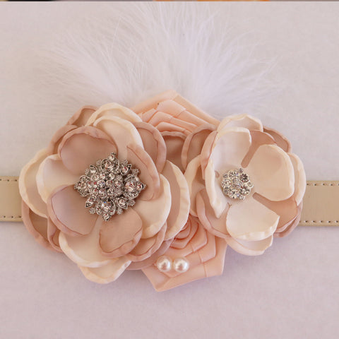 Ivory and Champagne flower dog collar, pearl beaded dog collar, dog collar, handmade, Ivory flower collar, dog of honor