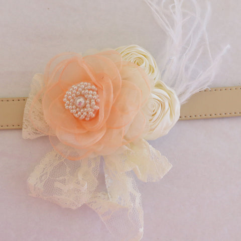 Peach Ivory Flower dog collar, Handmade Pearl feather flower leather collar, Dog of honor proposal or every day use, S to XXL collar