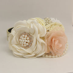 Patience Ivory Blush Flower dog collar, Pet wedding accessory, Pearls Rhinestone