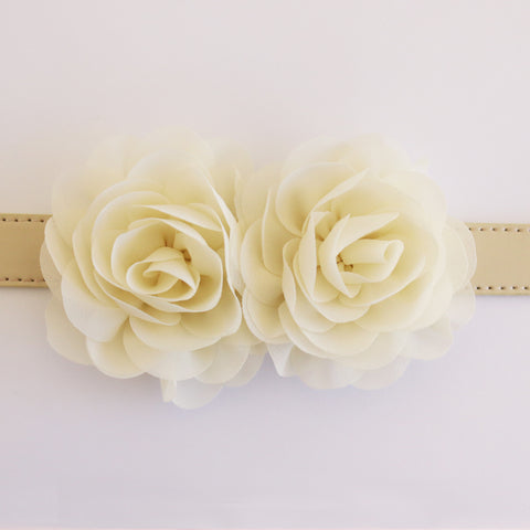 Ivory Flower dog collar, Handmade flower leather collar, Dog of honor proposal XS to XXL collar, Puppy Girl flower collar