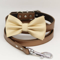 Dog Bow Tie collar and Leash, Ivory Bow tie, Copper Leash, Handmade, Pet wedding , Wedding dog collar