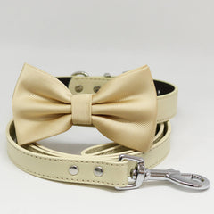 Dog collar and Leash, Ivory Bow tie, Ivory Leash, Handmade, Christmas gift, Leather collar